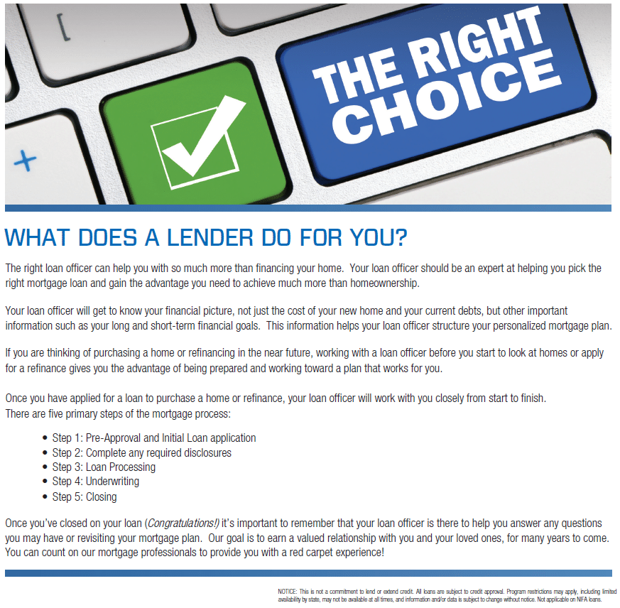 What Does a Lender Do For You? from First Mortgage