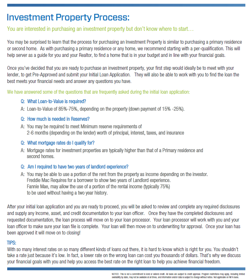 Investment Property Process from First Mortgage